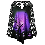 Women Halloween Shirt Costume Pumpkin Lace Patchwork Asymmetric Blouse Loose Top