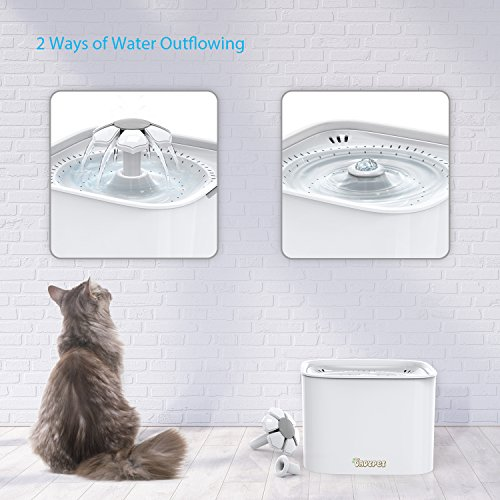 DADYPET Cat Water Fountains, Pet Drinking Fountain For Dogs and kitten, Organic Filter Silent Non-slip, Automatic Quiet Cats Water Fountain Water Dispenser with Activated Carbon Filter 2L (white)