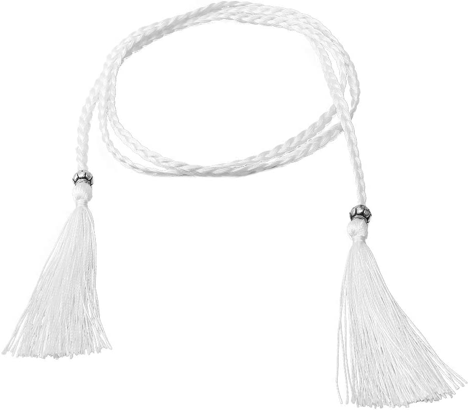 SOURBAN Women Waist Chain Rope Braided Belt with Tassels Beads Vintage Style for Dress,Black
