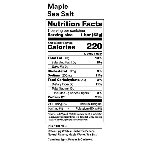RXBAR Real Food Protein Bar, Maple Sea Salt, Gluten Free, 1.83oz Bars, 24 Count by RXBAR (Image #7)