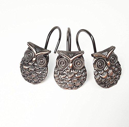 leoyoubei Waterproof and durable Zinc alloy animal owl antique single hook Rustproof curtain hook/dressing room hook/shower hooks12 Pack (bronze) by leoyoubei