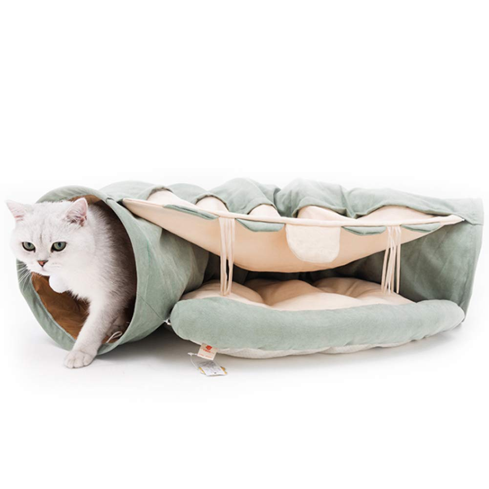 Cat Tunnel Bed with Cushion Tube Toys Plush, Cat Tube, Collapsible 2 Way Pet Tunnel,Road Cat Tunnel,Soft Removable Shack House Kitten Tunnel Toy for Playful,Sleeping by PJDDP