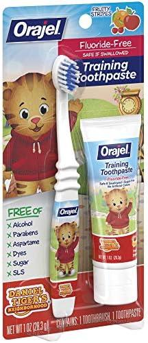 51GfycRoIUL. AC - Orajel Daniel Tiger's Neighborhood Fluoride-Free Training Toothpaste & Toothbrush Combo Pack, Fruity Stripes, 1.0oz