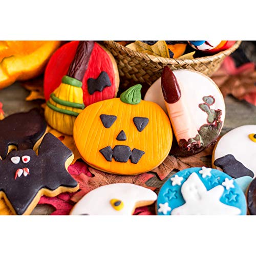 CSFOTO 8x6.5ft Halloween Backdrop Halloween Theme Background for Photography Halloween Party Supplies Halloween DIY Biscuits Child Baby Portrait Vinyl Wallpaper -