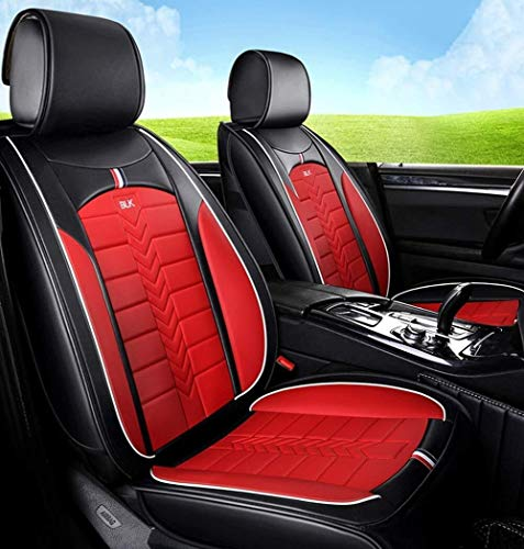 ADHW Easy To Clean PU Leather Car Seat Cushions 5 Seats Full Set - Anti-Slip Suede Backing Universal Fit Car Seat Covers for Both Fabric And Leather Car Seats (Color : Red):