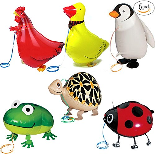 Walking Animal Balloons Farm Animals - 6 Pack Animal Balloons Air Walkers For Kids Gift Birthday Party Decor (Digital Inflate Auto)