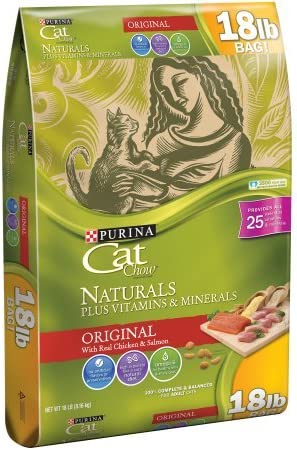 Purina Cat Chow Naturals Original Plus Vitamins Minerals Cat Food, High in Protein, Chicken Meal, Dry, 18 lb. Bag