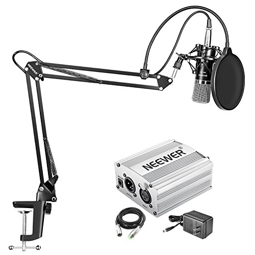 Adapter Power Phantom Xlr (Neewer NW-700 Condenser Microphone Kit - Mic(Black) and 48V Phantom Power Supply(Silver),NW-35 Boom Scissor Arm Stand with Shock Mount and Pop Filter,XLR Male to Female Cable for Home Studio Recording)