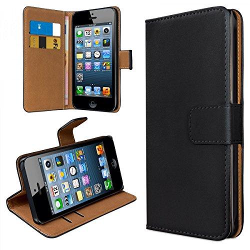 Bookstyle Cover pour Apple iPhone SE Housse Smartphone Étui Wallet Slim Case Case en similicuir accessoires noir