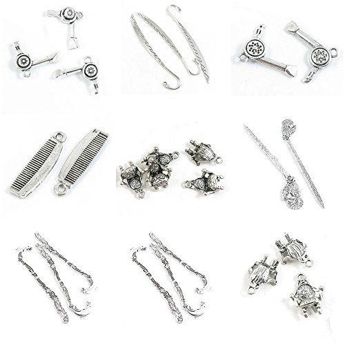 (26 Pieces Antique Silver Tone Jewelry Making Charms Sofa Chair Dolphin Bookmark Hair Sticks Phoenix Armchair Haircomb Comb Dryer Broadsword)