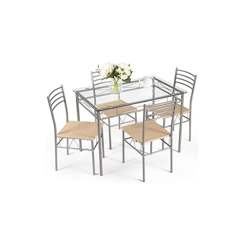 Giantex 5 Piece Dining Set Table and 4 C