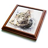 3dRose trv_266221_1 Watercolor Cat Pet Kitten Animal Friend Funny Trivet with Tile, 8 by 8''