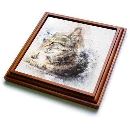 3dRose trv_266221_1 Watercolor Cat Pet Kitten Animal Friend Funny Trivet with Tile, 8 by 8'' by 3dRose (Image #1)