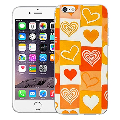 """Mobile Case Mate iPhone 6 4.7"""" Silicone Coque couverture case cover Pare-chocs + STYLET - Orange Amore pattern (SILICON)"""