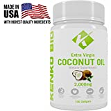 Extra Virgin 2000mg Organic Cold Pressed Coconut Oil Supplement By Kenko Bio - Capsules That Support Weight Loss, Hair Growth & Skin Health - GMO, Gluten & Dairy Free Source Of MCFA - 100 Softgels