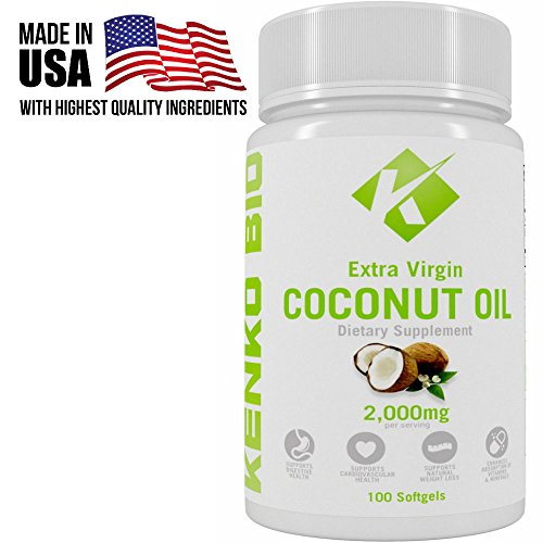 UPC 648676935655, Extra Virgin 2000mg Organic Cold Pressed Coconut Oil Supplement By Kenko Bio - Capsules That Support Weight Loss, Hair Growth & Skin Health - GMO, Gluten & Dairy Free Source Of MCFA - 100 Softgels