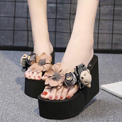 7f9c1c2334ee Mamilove Womens Chunky High Platform Wedge Flip-Flops Sandals 5.5 Black-2