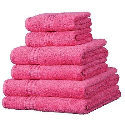 6 toallas de hotel - 100% extraordinario algodón egipcio - Fucsia