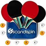Ping Pong Paddle Set of 4 Paddles and 8 Balls by Scandi Spin - Blue Portable Case for Storage - Table Tennis Rackets with Ergonomic Flared Handle - Outdoor / Indoor Play - Suitable for Kids and Adults