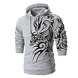 PASATO Men's Long Sleeve Printed Hoodie Hooded Sweatshirt Top Tee Outwear Blouse O-Neck Cardigan(Gray, M)