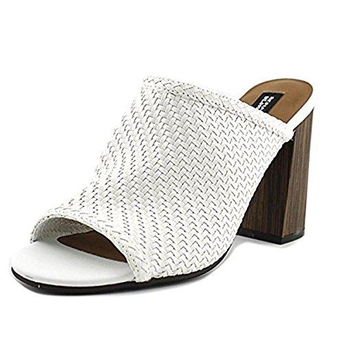 Design Lab Womens Nikky Woven Open Toe Mules White 8.5 Medium (B,M) by Design Lab
