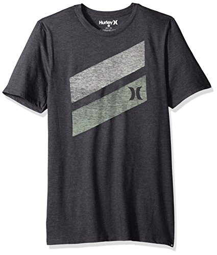 Hurley Men's Apparel Men's Premium Icon Slash Graphic Short Sleeve Tee Shirt, Black Heather, L