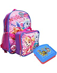Paw Patrol 16 Backpack Lunch Bag & Sandwich Container 3pc Bundle Skye Everest