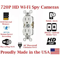 SecureGuard Elite 720p HD WiFi Wireless IP AC Power Receptacle Outlet Hidden Security Nanny Cam Spy Camera with 16GB Memory (White / Functional Receptacle)