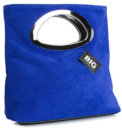 Big Handbag Shop Womens Suede Leather Plain Top Handle Evening Clutch bag (Electric Blue)