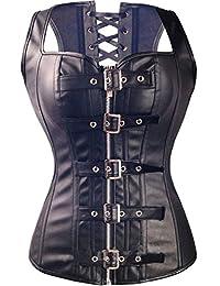 Yinwes Corset Womens Steampunk Leather Corset Vest Plus Size S-6XL