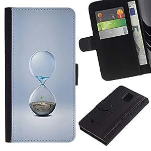 UNIQCASE - Samsung Galaxy Note 4 SM-N910 - Water Sand Minimalist Hourglass - Cuero PU Delgado caso cubierta Shell Armor Funda Case Cover