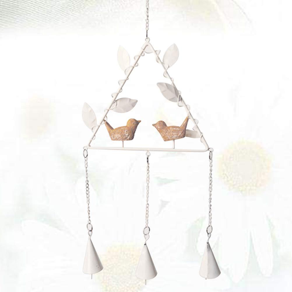 LIOOBO Wind Chime Metal Tri/ángulo Colgante Ornamento Lindo del p/ájaro Que cuelga la decoraci/ón de la m/úsica para el Patio al Aire Libre Decoraci/ón del jard/ín Regalo conmemorativo Blanco