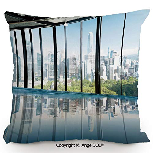 AngelDOU Decorative Cotton Linen Pillowcase with core,Metropolitan Cityscape of New York USA in Central Park Forest Photo,Sofa Bedroom Car Eco-Friendly Pillow Cushion.23.6x23.6 inches