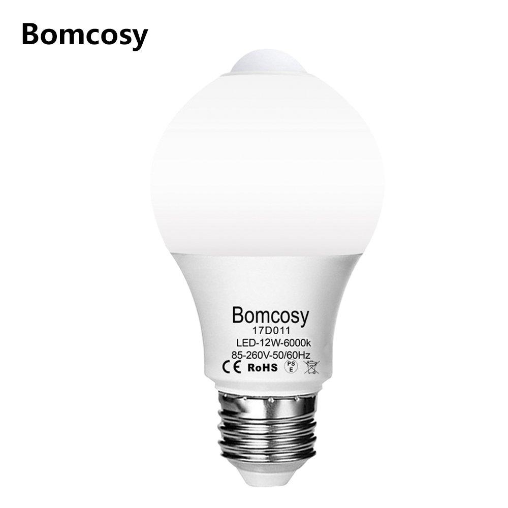 ボンコシ LED電球 人感センサー付き E26口金 昼光色相当(12W)6000K 電球100W形相当 1100lm 自動点灯/消灯 ledランプ 1個