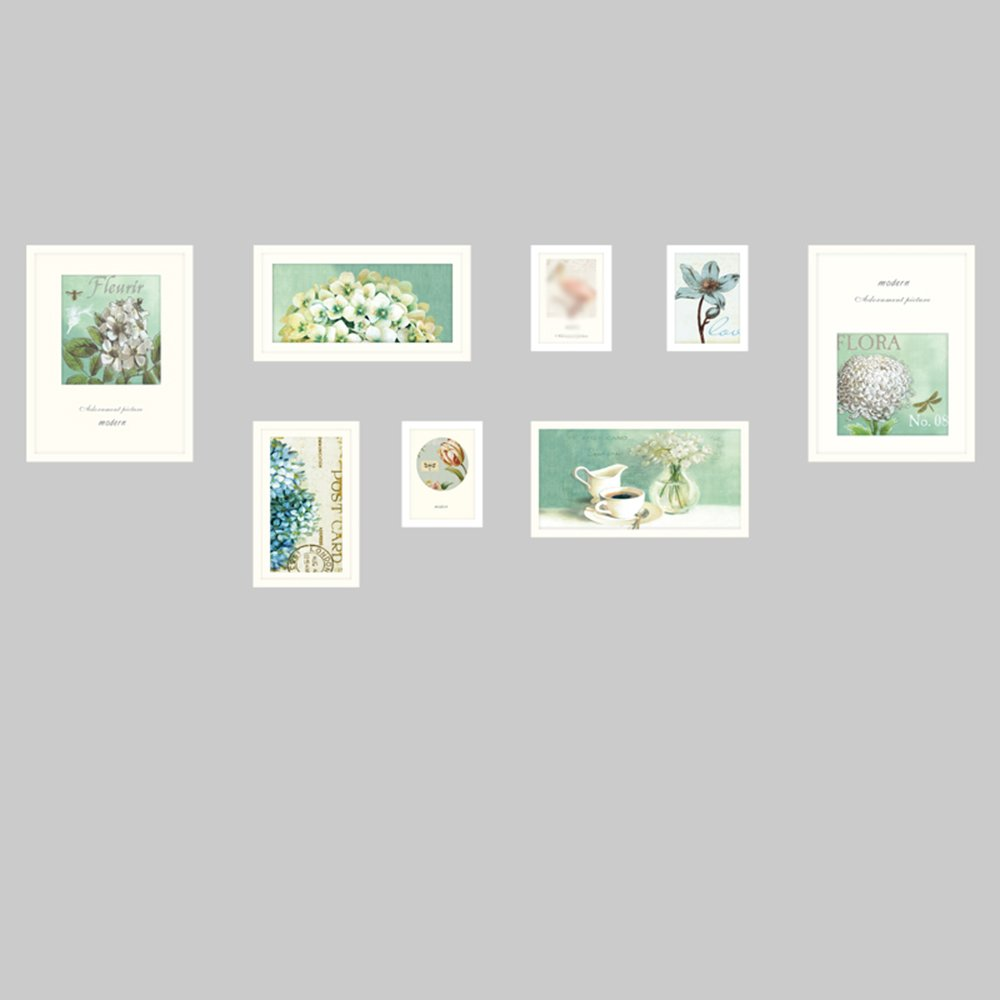 European photo wall / photo frame wall simple photo frame wall combination / living room dining room modern photo wall 8 box 190 68cm ( Color : White )