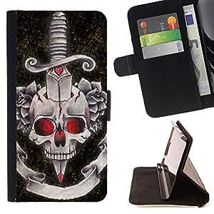 Momo Phone Case / Flip Funda de Cuero Case Cover - Rose diablo cráneo daga Negro Rojo - MOTOROLA MOTO X PLAY XT1562