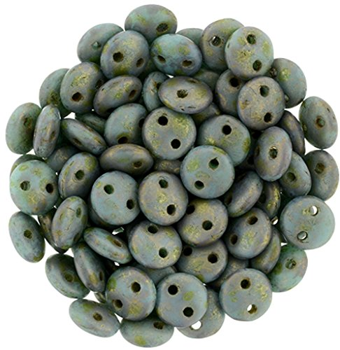Czech 6mm Lentil Two-hole Beads - Copper Picasso Turquoise (50)
