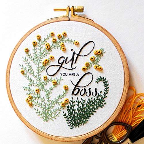 Khalee Full Set of Hand-Made Embroidery Starter Kit, Cross Stitch Kits for Beginners Including Patterned Embroidery Cloth, Plastic Hoop,Color Floss,Tools Kit(Girl Boss, 6 Inches in Diameter)