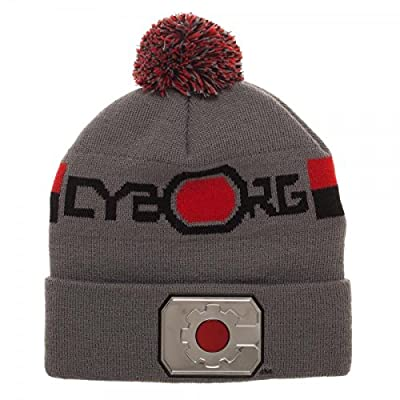 Justice League Cyborg Logo Chrome Weld Knit Beanie Hat from Justice League