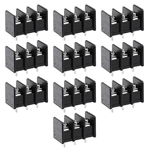 uxcell 10Pcs AC 300V 25A 7.62mm Pitch 3P Flat Angle Needle Seat Fence Type Terminal