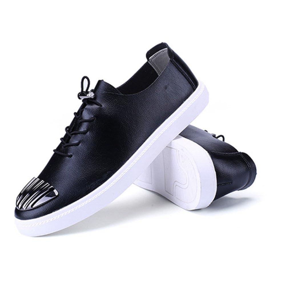 ZPFDY Männer Koreanische Mode Vier Jahreszeiten Casual Jugend Mode Koreanische Lace Lederschuhe schwarz bfe806