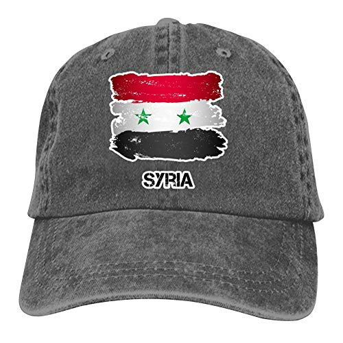 Claude-Carroll Flag of Syria Unisex Cowboy Cap Classic Adjustable Peaked Hat Charcoal