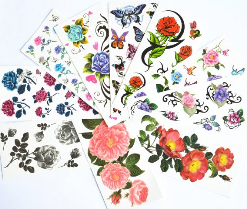 temporary stickers including colorful butterflies product image