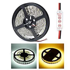 HML Dual-Row 5M Non-Waterproof 600 x 5050 SMD White/Warm White Light LED Strip Lamp with HML Mini Controller Set (12V) , Warm White