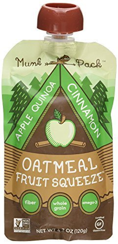 Munk Pack Oatmeal Fruit Squeeze Pouch, Apple Quinoa Cinnamon, 4.2 Oz Pouch (Pack by Munk Pack