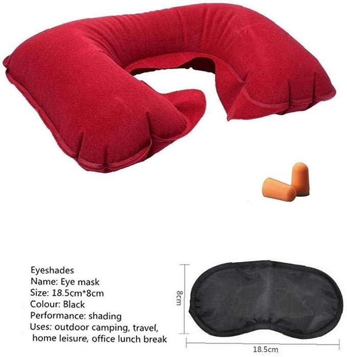 New Inflatable Car Travel Neck Pillow Support Earplug and Eye Mask Sleep Set