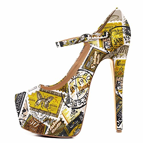 (Onlymaker Womens Fashion Ankle Strap Platform High Heel Mary Jane Stiletto Pumps Party Dress Shoes Yellow Print 12 M)