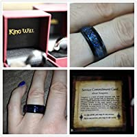 King Will 2-Year Anniversary Sale! King Will 8mm Mens Blue Celtic Dragon Inlay Comfort Fit Black Tungsten Metal Ring Wedding Band