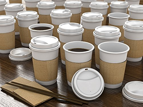 JUMBO Set of 55 - Paper Coffee Hot Cups, Travel Lids, Sleeves & Stirrers -12oz / 360ml - WHITE - Office/Party Pack - to go Coffee Cups, Disposable Travel Mug & Paper Cups/Cold Coffee, Tea & Chocolate