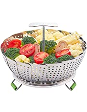 "LHS Food Steamer Basket, Stainless Steel Kitchen Steamer Collapsible Steamer, Insert for Veggie Fish Seafood Cooking, Expandable to Fit Various Size Pot (5.9"" to 9.3"") S"